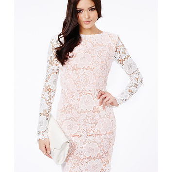 White Backless Long Sleeve Lace Midi Pencil Dress