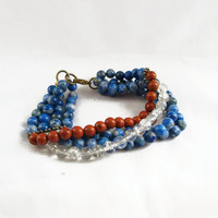 Thick Layered 4 Strand Beaded Bracelet Earth Tones