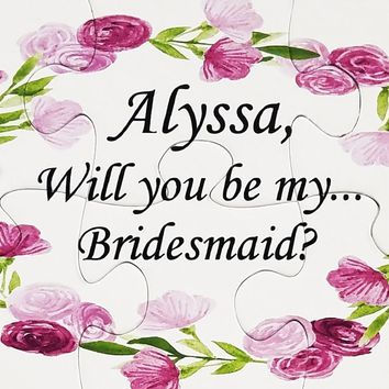 Will You Be My Bridesmaid Jigsaw Puzzle.  Ask Flower Girl With A Keepsake #1