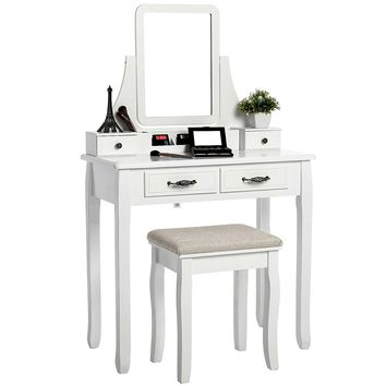 Vanity Set White with Removable Makeup Organizer
