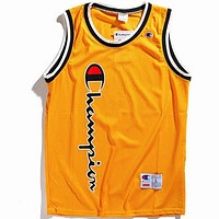 Champion 2018 spring and summer logo printing couple models mesh vest F0606-1 yellow