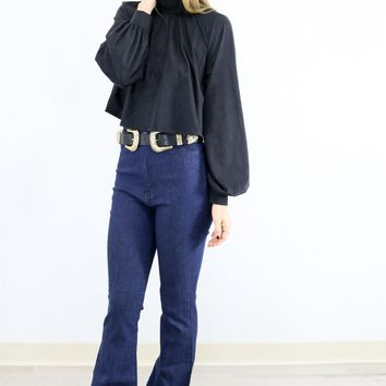 Gold Moonlight Beam Chaser Black Faux Suede Open Back Crop Top