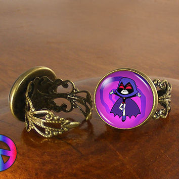 Teen Titans Go Purple Raven Womens Girls Adjustable Ring Rings Jewelry Gift
