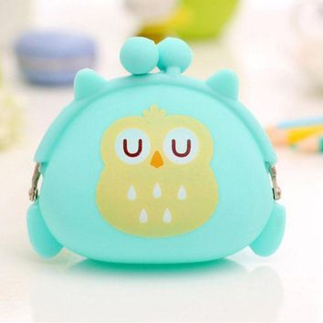 Adorable Mint Owl Sleeping Silicone Twist Lock Coin Purse