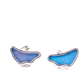 Silver butterfly cufflinks  - Iridescent Blue Wing Shaped Morpho Didius