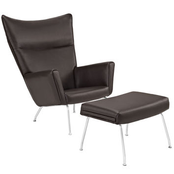 LexMod Style ch445 Wegner Wing Dining Chair and Dark Brown Leather Ottoman