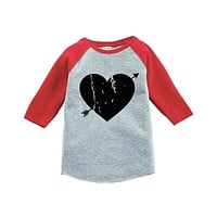 7 ate 9 Apparel Kids Heart Happy Valentine's Day Red Raglan