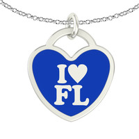 I Love Florida Sterling Silver Heart Necklace