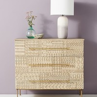 Handcarved Patchwork Three-Drawer Dresser