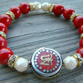 Stretch Bracelet, Red Mountain Jade, Cream Czech Glass Bead, Gold Plated Clear Rhinestone Spacer Bead Stacking Bracelet with Tibetan Om Bead