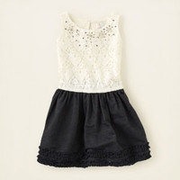 jeweled denim 'n lace dress