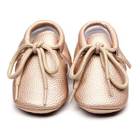 Retail New pu Leather Baby Moccasins Shoes solid lace up hard rubber sole Baby Shoes Newborn first walker Infant Shoes
