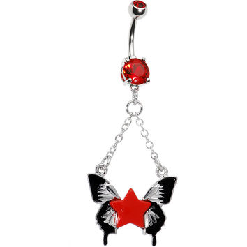 Ruby Red Gem Star Butterfly Belly Ring