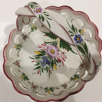 Vintage RCCL Portugal Hand-Painted Porcelain White Floral Basket Braided Handle