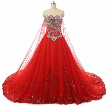 Elegant Red Ball Gown Wedding Dresses Beaded Applique Wedding Dresses Lace Up Back Bridal Gowns