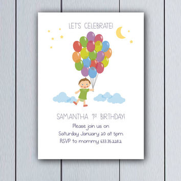 My first birthday invitation Baby Shower Balloons / printable pdf / party celebration girl boy invites Babyshower ideas children card 1st