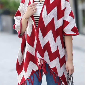 Red and White Chevron Fringed Poncho Sweater