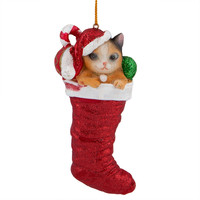 Cat In Stocking Christmas Ornament