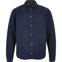 River Island Boys navy shirt and star bow tie set