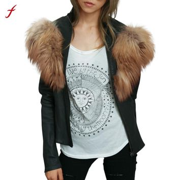 Women Fur Coat Ladies Faux Leather Outwear Racing Style Biker Jacket Coat Veste Femme Manche Longue