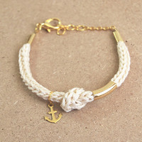 Nautical bracelet with anchor charm and knot, beige knit bracelet