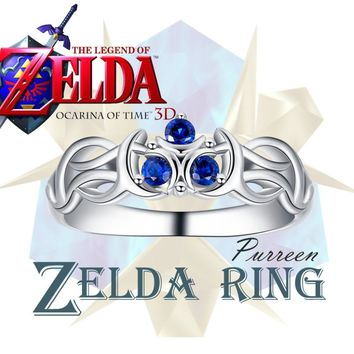 The Legend of Zelda Fans Ocarina of Time Zora Sapphire Inspired Natural Colored Gems Ring Breath of the Wild Gift in BOX