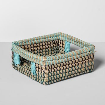 "Seagrass Woven Napkin Holder 7.25"" x 7.25"" Brown/Blue - Opalhouse™"