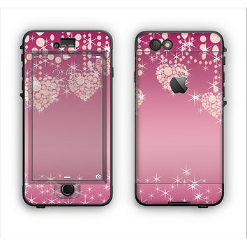 The Pink Sparkly Chandelier Hearts Apple iPhone 6 LifeProof Nuud Case Skin Set