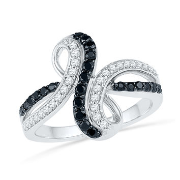 1/2 CT. T.W. Enhanced Black and White Diamond Infinity Bypass Ring in Sterling Silver - Size 7