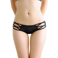 Women Sexy Lingerie Print Thongs Lace Cross Belt Straps Panties Briefs Low Rise Brand Ladies Bikini Knickers Underwear