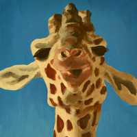 Curious giraffe print 6x12 FREE SHIPPING by BohemianHabits on Etsy