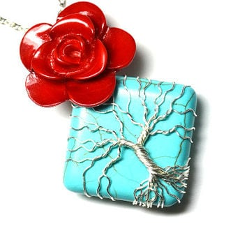 Day of the Dead Tree of Life Pendant Rose and Turquoise Stone Tree Necklace Red and Turquoise Wire Wrap Pendant Southwest Dia De Los Muertos