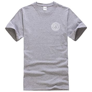 Versace New fashion bust side human head couple top t-shirt Gray