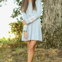 Lace Against Time T-Shirt Dress-Heather