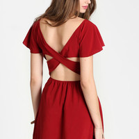 Wine Flush Cross Back Dress - $36.00: ThreadSence, Women's Indie & Bohemian Clothing, Dresses, & Accessories