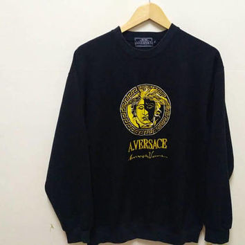 A. Versace Madusa sweatshirt Diffusion Embroidery big logo spellout