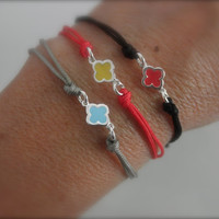 Sterling silver clover cord bracelet with a touch of enamel -choose your favorite color-