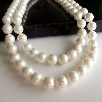 Natural Pearl Bridal Bridesmaid Wedding Seashell Jewelry Gifts Necklace and Earrings-Earring Style Hook