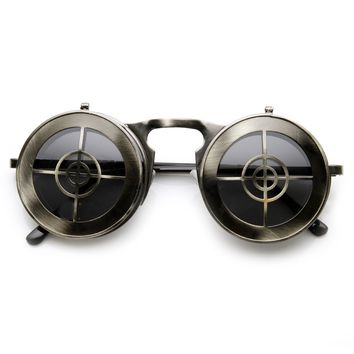 Unique Full Metal Flip Up Bulls Eye Crosshair Target Steampunk Sunglasses 9346