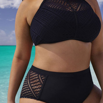 Plus Size Women  High Waist Lace Bikinis Black Solid Swimwear Hollow out Swimsuit Bathing Suit