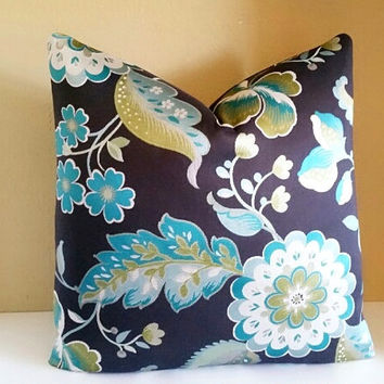 Charcoal Jacobean print pillow - Pick your pillow size - 18x18, 20x20, 22x22, 24x24