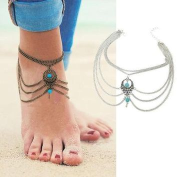 Multi-layer Ladies Boho Zinc Alloy Ankle Bracelet