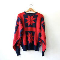 20% OFF SALE...vintage snowflake sweater. red and navy blue. chunky knit sweater.