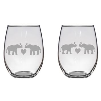 Elephant Couple Engraved Glasses, Love, Gift Free Personalization