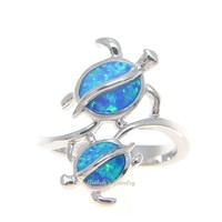 INLAY OPAL STERLING SILVER 925 HAWAIIAN MOTHER BABY HONU TURTLE RING SIZE 5-10
