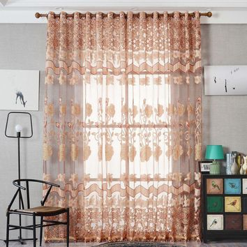 Europe Style Curtain Burnout Floral Pattern Tulle Curtains Home Hotel French Window Blinds Modern Semi-blackout Curtains