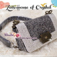 Vintage Purse plus Bling and Sparkly Strass Classic Flap Purse with Czech / Swarovski crytals - Chanel Boy Inspired Bag - ZoeCrystal