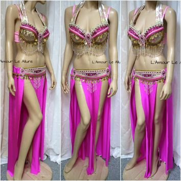 Pink Alomomola Gypsy Belly Dancer Rave Bra Cosplay Halloween Costume Pokemon Show Girl Burlesque