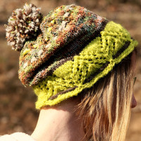Wool knit hat, pom pom hat, wool winter accessory, chartreuse winter hat