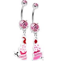 Pink Gem Cupcake Sweet Bitches Best Friends Belly Ring Set | Body Candy Body Jewelry